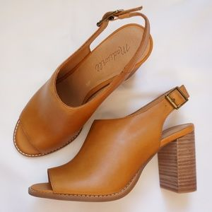 Madewell Cary Brown Sandal Peep Toe Slingback New!